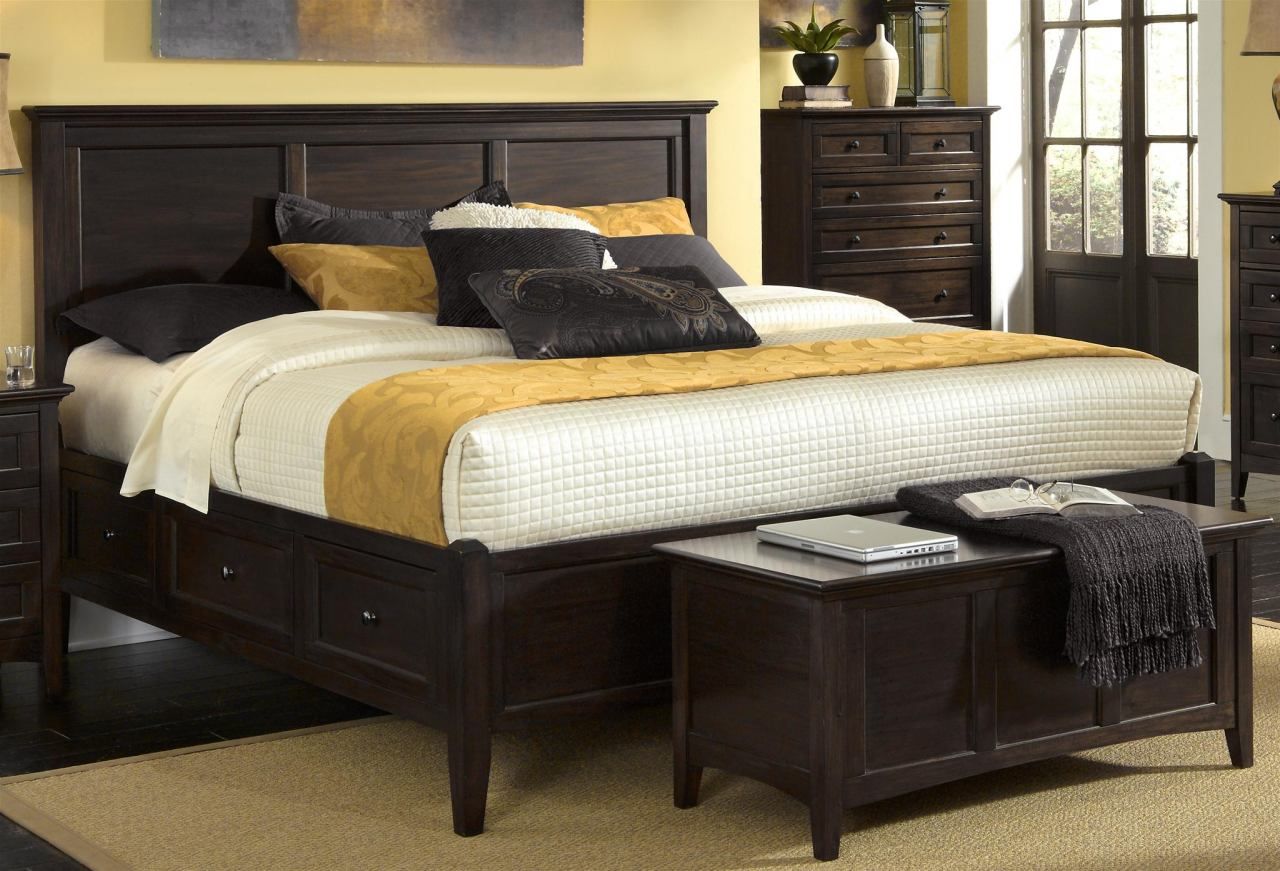 A-America Westlake King Storage Bed in Dark Mahogany WSLDM5191