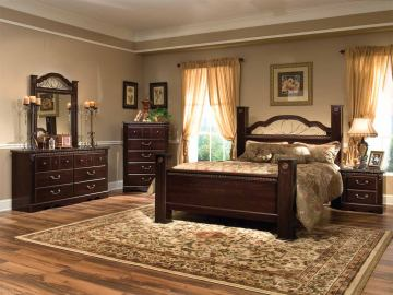 Standard Furniture Sorrento Poster Bedroom 4pc Set in Abby Wood & Olympus Brown