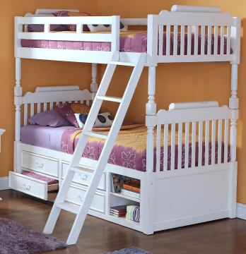 New Classic Alexandra Youth Twin Bunk Bed with Storage in Rubbed White 05-106-598B-T