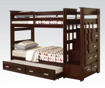 Acme Allentown Twin Bunk Bed With Trundle Storage Drawers In Espresso 10170a