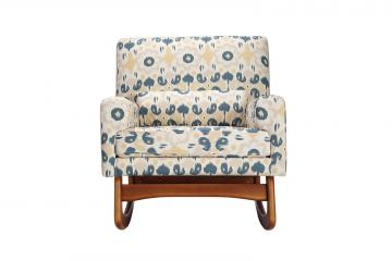 Nursery Works Sleepytime Rocker in Bazaar Cotton in Spring with Walnut Legs 1085BSP