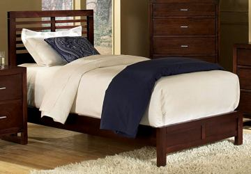 Homelegance Paula Twin Panel Bed in Medium Cherry 1348T-1