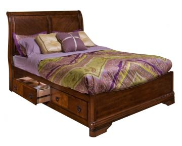 New Classic Sheridan Eastern King Storage Bed in Burnished Cherry Finish 00-005-138