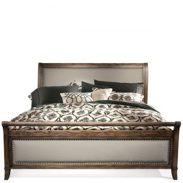 Riverside Belmeade Queen Sleigh Upholstered Bed in Old World Oak