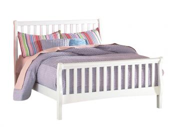 New Classic Bayfront Full Sleigh Bed in White Painted Finish 1415-411