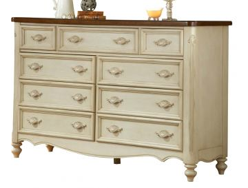 American Woodcrafters Chateau Collection 9-Drawer Triple Dresser in White Antique 3501-290