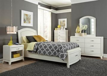 Liberty Furniture Avalon Youth 4 Piece Leather Storage Bedroom Set in White Truffle
