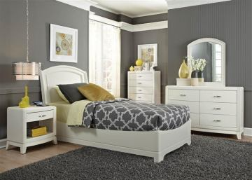 Liberty Furniture Avalon Youth 4 Piece Platform Bedroom Set in White Truffle