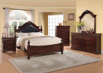 Acme Gwyneth Traditional Poster Bedroom Set with Black PU Upholstered Headboard in Cherry