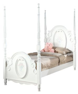 Acme Flora Full Poster Bed in White 01657F