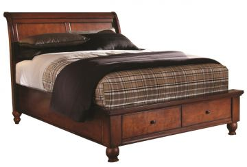Aspenhome Cambridge Full Sleigh Storage Bed in Brown Cherry