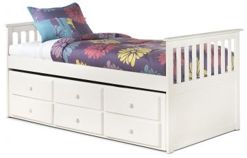 Lulu Twin Bed with Trundle Frame and Drawer Box in White