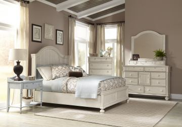 American Woodcrafters Newport 4 Piece Panel Bedroom Set In Antique White