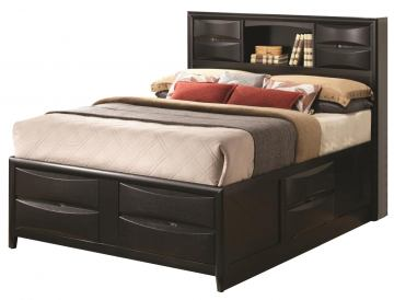 Coaster Briana Queen Storage Bed with Bookshelf in Black 202701Q