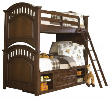 Samuel Lawrence Furniture Expedition Twin/Full Bunk Bed with Underbed Storage in Cherry
