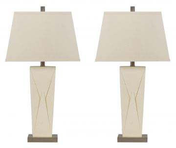 Radley Poly Table Lamp in brush silver (Set of 2)