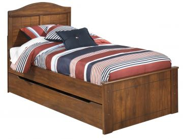 Barchan Twin Panel Bed w/Underbed Trundle in Medium Brown