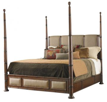 Tommy Bahama Home Landara Monarch Bay King Poster Bed in Rich Tobacco Finish 01-0545-174C