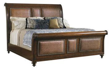 Tommy Bahama Home Landara Palmera King Sleigh Bed in  Rich Tobacco Finish 01-0545-190C