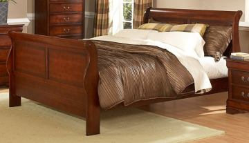 Homelegance Chateau Brown Queen Sleigh Panel Bed in Warm Distressed Cherry 549-1