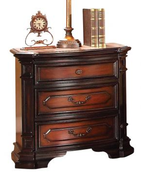 Acme Le Havre Traditional Three Drawer Nightstand in Two-Tone Brown 22403