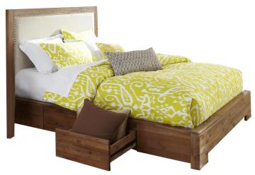 Cresent Fine Furniture Waverly Upholstered Platform King Bed w/ Storage on One Side in Driftwood