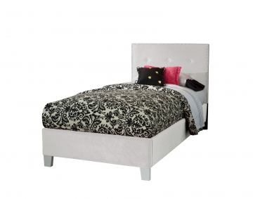 Standard Furniture Young Parisian Upholstered Twin Bed in White Shimmer 65186