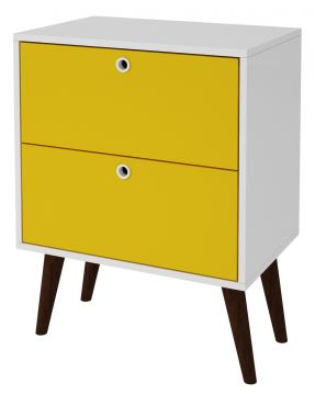 Accentuations by Manhattan Comfort Taby 2 Drawer Nightstand in White and Yellow 66AMC142