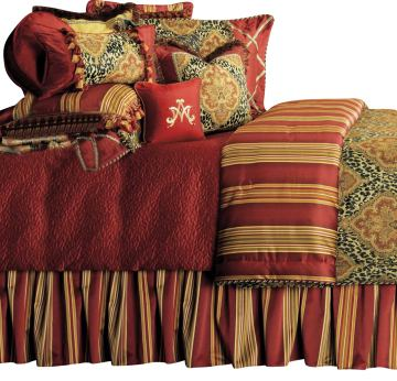 AICO Nobel Philippe 13-pc King Comforter Set in Red BCS-KS13-NBLPHL-RED
