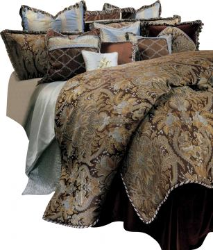 AICO Portofino 12-pc Queen Comforter Set in Brown BCS-QS12-PRTFNO-BRN