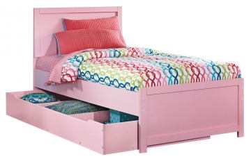 Bronett Twin Panel Bed with Trundle Under Bed Storage in Pink