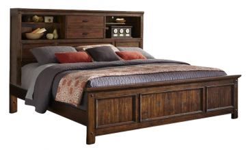Intercon Furniture Wolf Creek King Bookcase Bed in Vintage Acacia