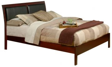 Alpine Furniture Newport Full Size Platform Bed with Faux Leather Headboard in Medium Cherry