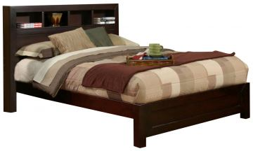 Alpine Furniture Solana Full Platform Bed with Bookcase Headboard in Cappuccino SK-08F
