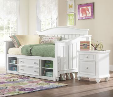 Samuel Lawrence Furniture SummerTime 4-Piece Day Bedroom Set with Underbed Storage in Bright White