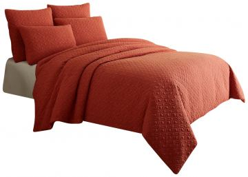 AICO Fillmore 5-pc King Coverlet Set in Coral BCS-KD05-FLMOR-COR