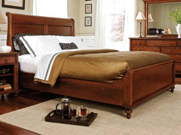 Durham Furniture Savile Row Cal King Sleigh Bed w/ Low Footboard - Victorian Mahogany finish