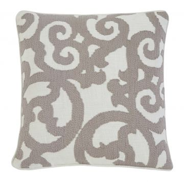 Embroidered Pillow Cover in White/Natural A1000309 (Set of 4)