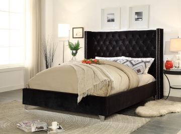 Meridian Furniture Aiden Velvet Queen Bed in Black AidenBlack-Q
