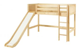 Maxtrix Bare Bone Twin Size Mid Loft (Low/Low) Panel Bed with Straight Ladder and Slide in Natural AWESOMENP