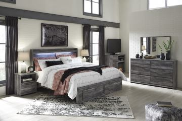 Baystorm 4pc Panel w/ Footboard Storage Bedroom Set in Gray