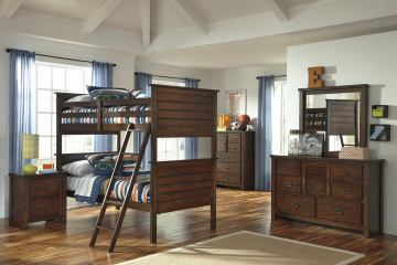 Ladiville Vintage Panel Bunk Bedroom Set in Rustic Brown