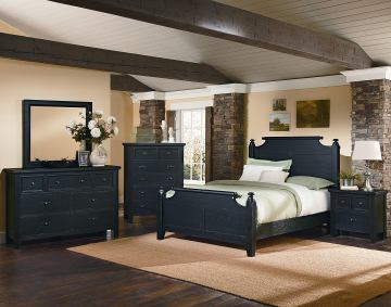 All-American Woodlands 4-Piece Broomhandle Poster Bedroom Set in Charcoal