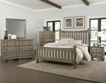 Virginia House Bedford 4 Piece Poster Bedroom Set in Washed Oak