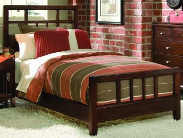 American Drew Tribecca Queen Slat Bed in Brown