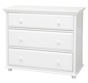 Maxtrix 3 Drawer Dresser with Crown and Base in White BIG 3-002
