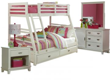 Hillsdale Furniture Bailey 4pc Bunk withTrundle Bedroom Set in White