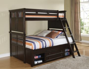 New Classic Canyon Ridge Full Bunk Bed with Storage in Chestnut 05-230-598F