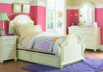 Legacy Classic Kids Charlotte Arched Panel Bedroom Set with Trundle in Antique White