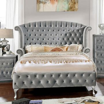 Furniture of America Alzir California King Sleigh Bed in Gray CM7150CK